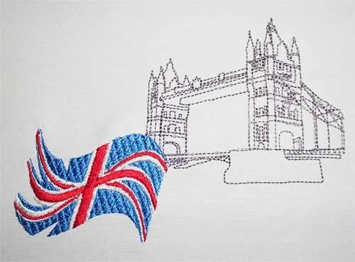 Stickdatei Union Jack mit Tower Bridge