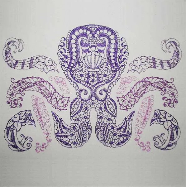 Embroidery Design Octopus Zendoodle