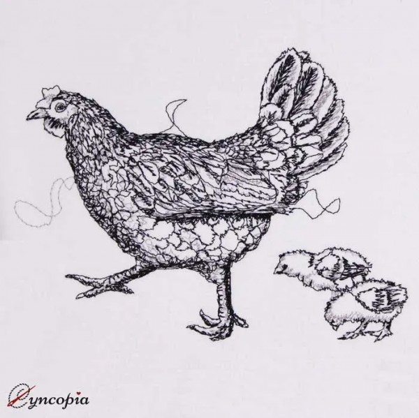 Embroidery Design Hen Chicken scribble