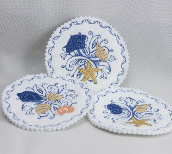 Embroidery Design Seashell Baroque Coaster ITH