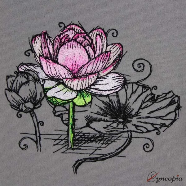 Embroidery Design Lotus Flower No 4