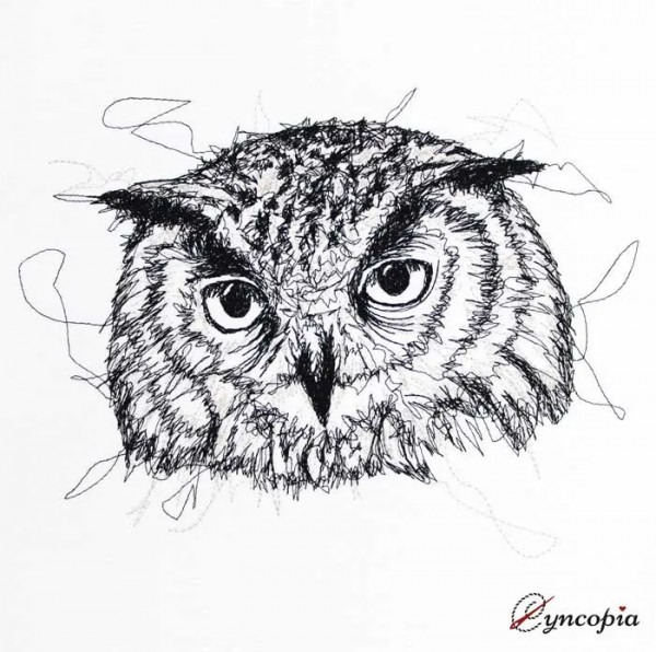 Embroidery Design Owl Scribble