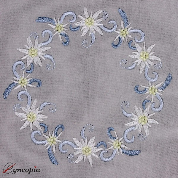 Embroidery Design Edelweiss Wreath