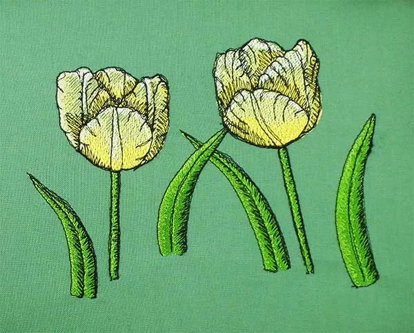 Embroidery Design Yellow Tulip Set