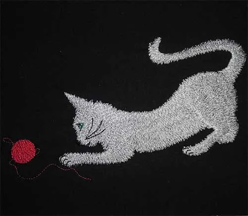Embroidery Design Playing Cat
