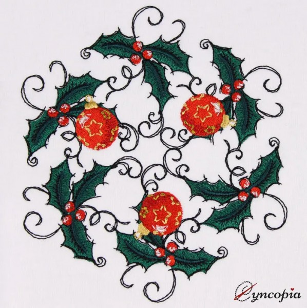 Embroidery Design Holly Wreath