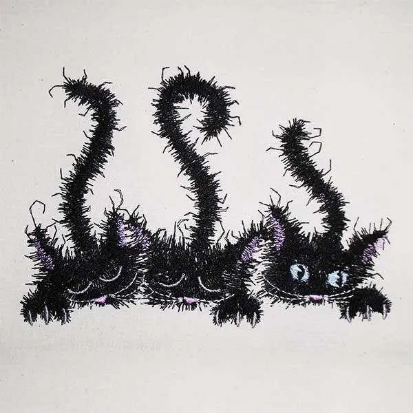 Embroidery Design Three Tousled Cats