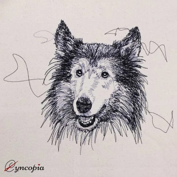 Embroidery Design Collie Scribble