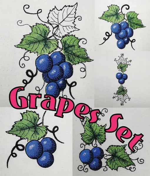 Embroidery Design Grapes Set