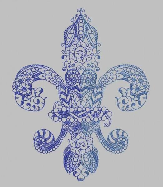 Embroidery Design Fleur de Lys Zendoodle