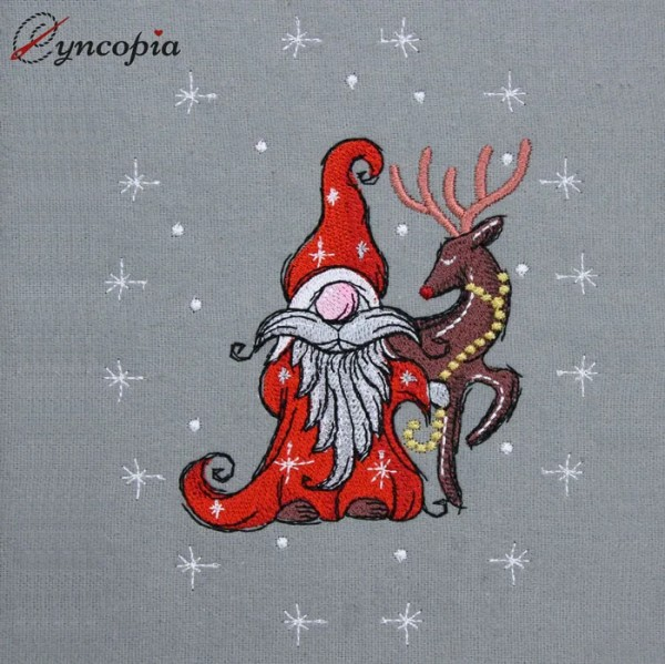 Embroidery Design Christmas Gnome Reindeer