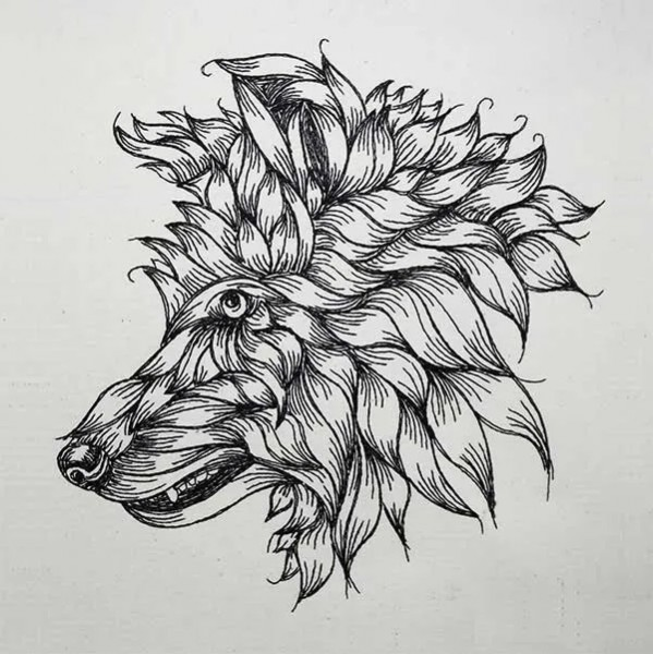 Embroidery Design Furled Wolf