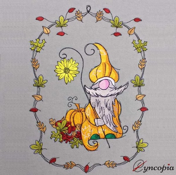 Embroidery Design Autumn Gnome Sunflower