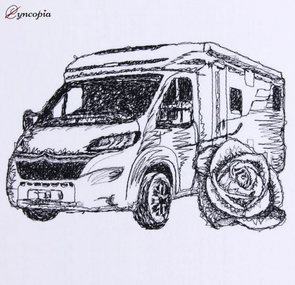 Embroidery Design Camper Rose scribble