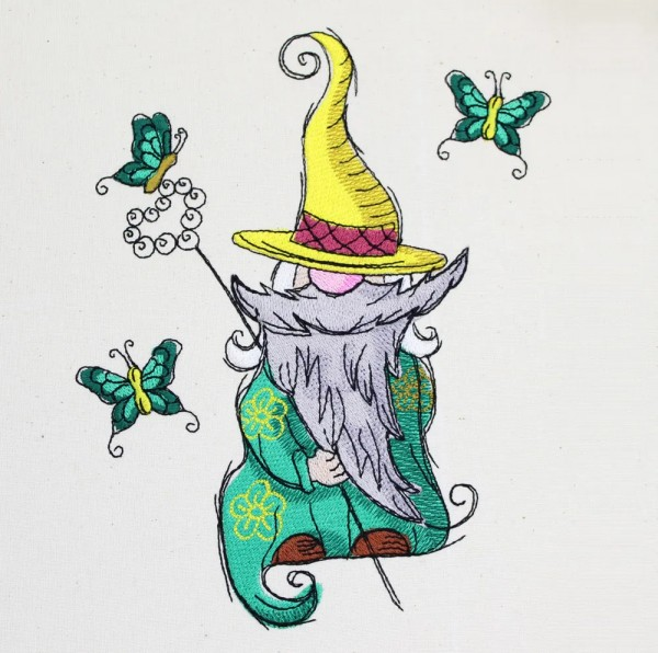 Embroidery Design Butterfly Gnome