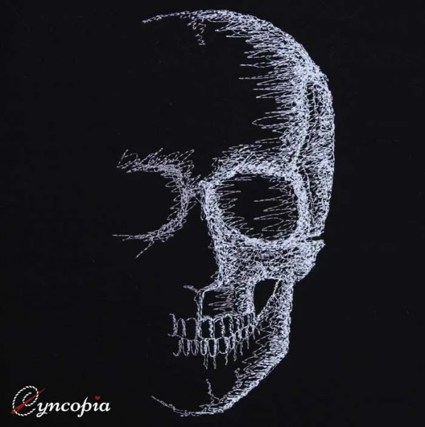 Embroidery Design Skull on Black scribble