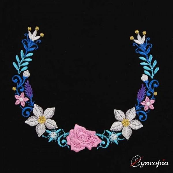 Embroidery Design Flower Ornament Wreath