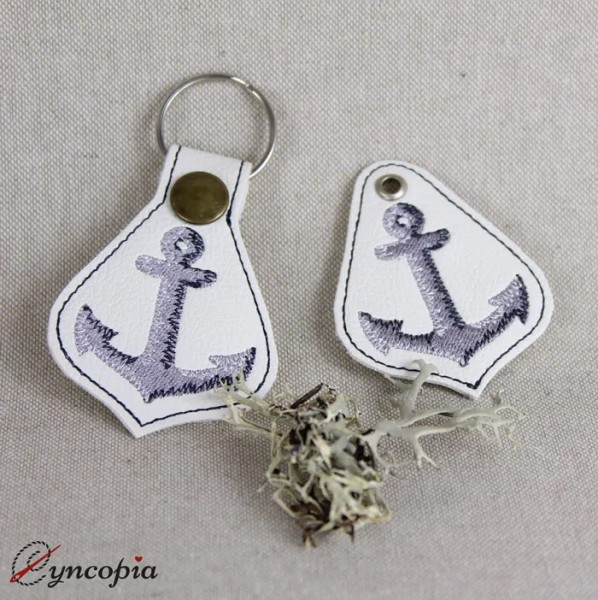 Embroidery Design Key Fob Anchor ITH