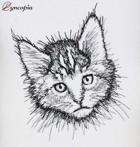 Embroidery Design Main Coon Kitten Scribble