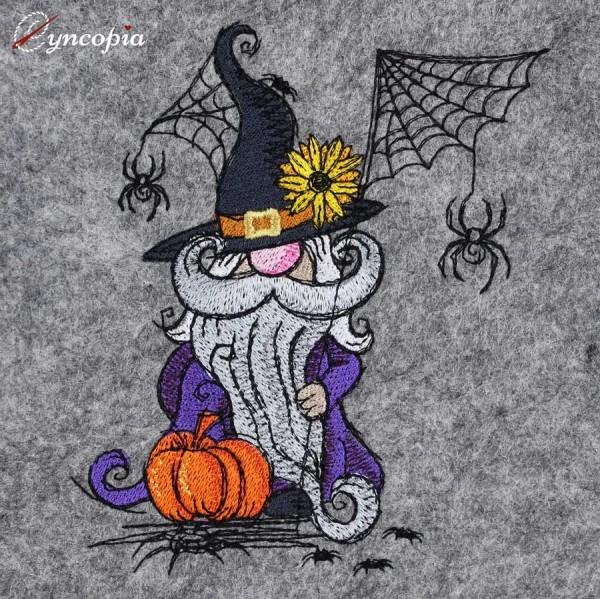 Embroidery Design Halloween Gnome Spider