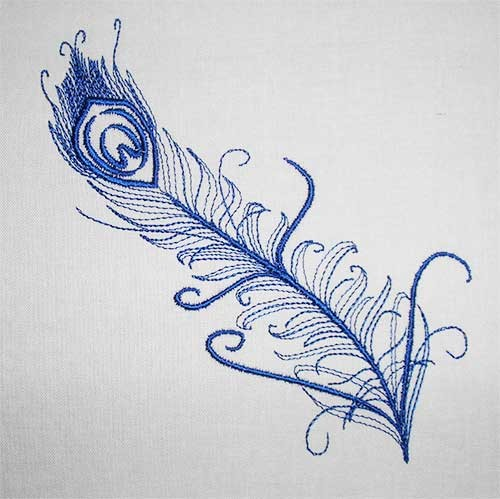 Embroidery Design Peacock Feather