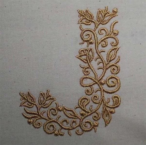 Embroidery Design J Fine Ornament