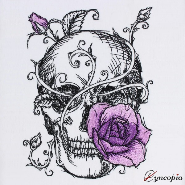 Embroidery Design Skull Rose Romantic